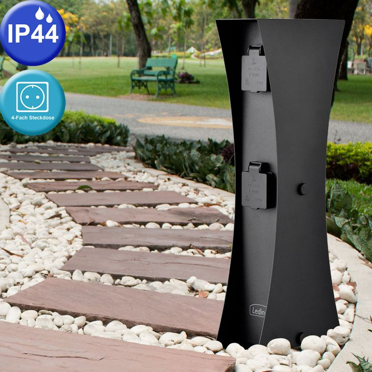 Outdoor electricity distribution veranda 4-fold plug box Garden Edestahl energy pillar Ledino 11790000002025 – Bild 2