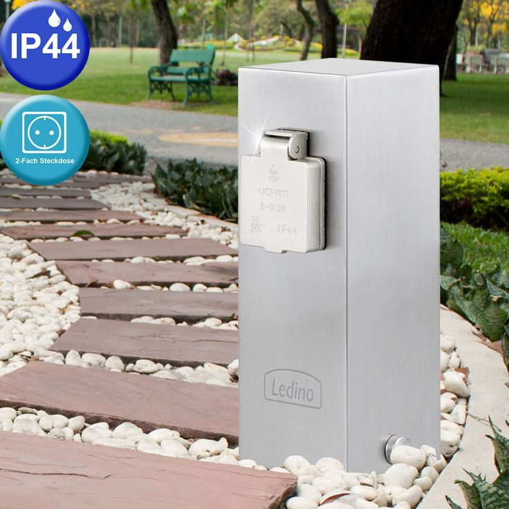 Outdoor 2-fold sockets posts stainless steel garden electricity distribution terrace LEDINO 11790000001015 – Bild 2