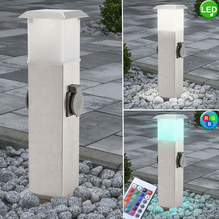 LED outdoor distribution sockets with E14 socket light garden power RGB remote control – Bild 2