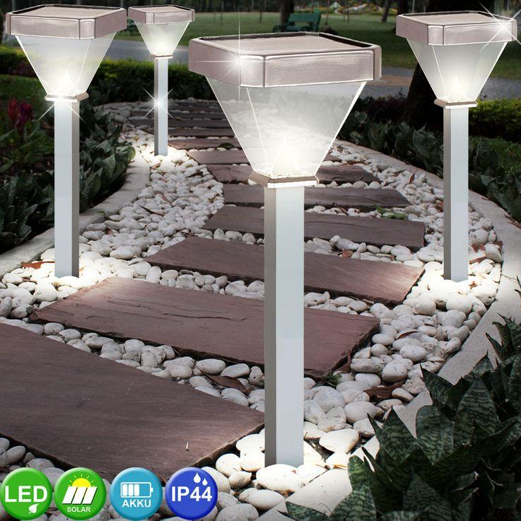 4er Set LED Solar Stecklampen, Aluminium, Höhe 60 cm – Bild 2