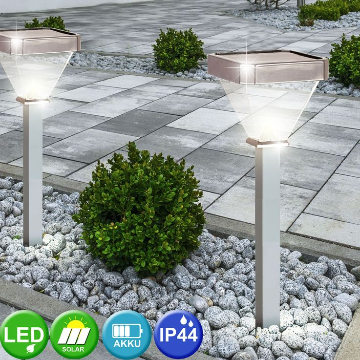 4er Set LED Solar Stecklampen, Aluminium, Höhe 60 cm – Bild 4