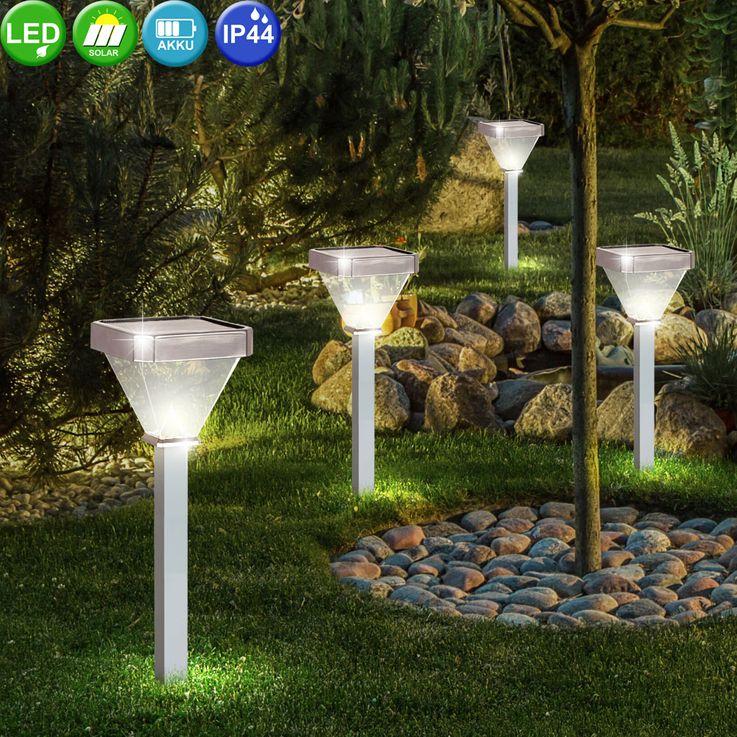 4er Set LED Solar Stecklampen, Aluminium, Höhe 60 cm – Bild 3