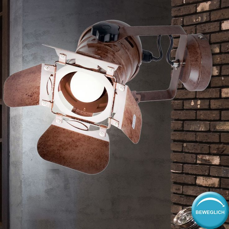 Retro wall lamp rust-colored living room spotlights lighting spot adjustable  Globo 54650-1W – Bild 3