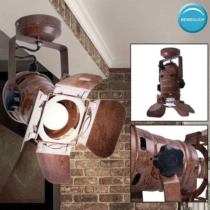 Retro wall lamp rust-colored living room spotlights lighting spot adjustable  Globo 54650-1W – Bild 2