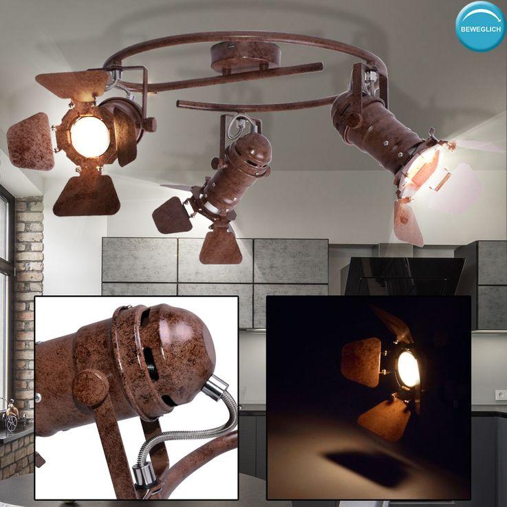 Rondell Decken Leuchte Wohn Zimmer Schein Werfer Spots beweglich Strahler Lampe rost Globo  54650-3 – Bild 3
