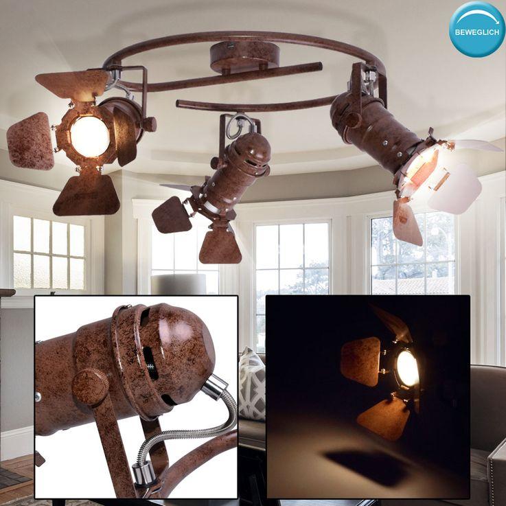 Rondell Decken Leuchte Wohn Zimmer Schein Werfer Spots beweglich Strahler Lampe rost Globo  54650-3 – Bild 2