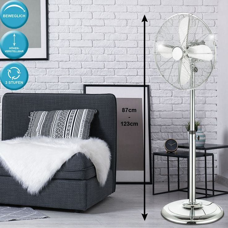 Stand fan corridor fan 3-stage radiator H 123 cm adjustable oscillating – Bild 2