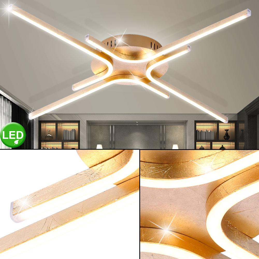 Luxus LED Decken Beleuchtung Wohn Ess Zimmer Gold Wellen Leuchte Effekt Lampe