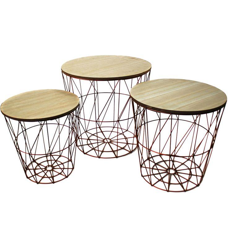 3er Set Design Kaffee Beistell Couch Tische kupfer MDF Blumen Hocker Ablage Möbel braun Noor 77150 – Bild 1