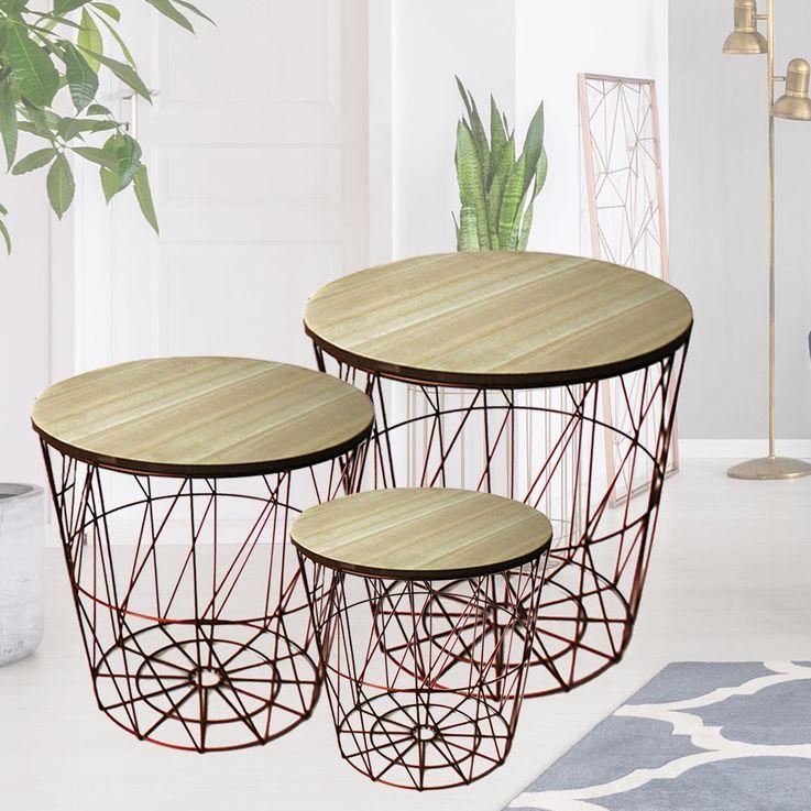 3er Set Design Kaffee Beistell Couch Tische kupfer MDF Blumen Hocker Ablage Möbel braun Noor 77150 – Bild 2