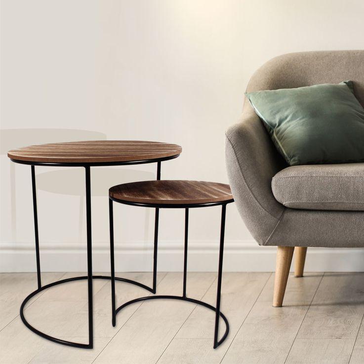 Set of 2 couch side table night table living sleep room shelves furniture brown black  Noor 77152 – Bild 2