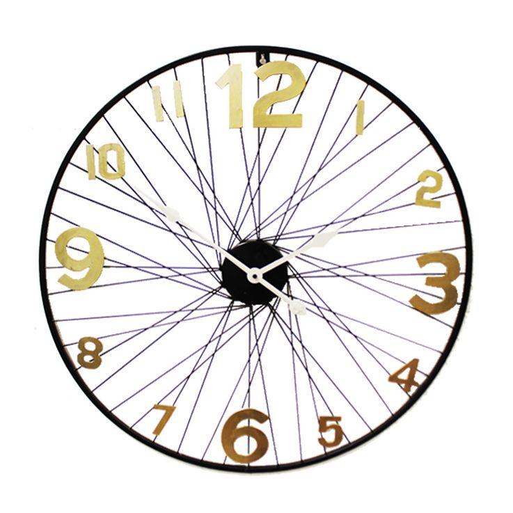 Retro Wand Uhr Dekoration Design Speiche Ziffern antik gold schwarz Noor 21093 – Bild 1