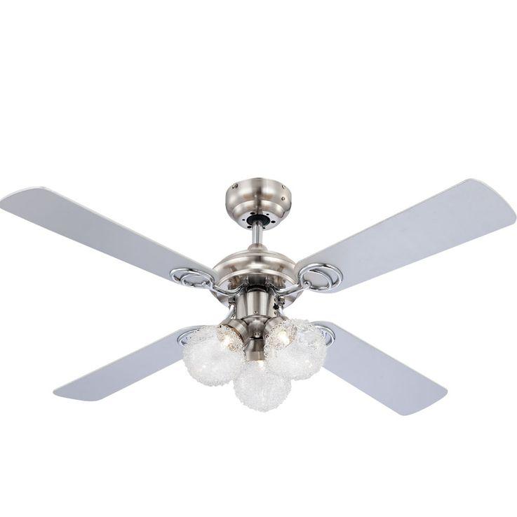 LED ceiling fan living dining room cooler glass pull switch fan lamp  Globo 0329L – Bild 1