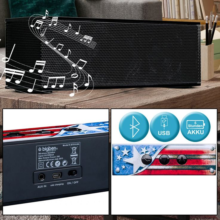 Music Box Bluetooth BATTERY Speaker USA Design Party Subwoofer 1.5  inch Big Ben BT01USA – Bild 2