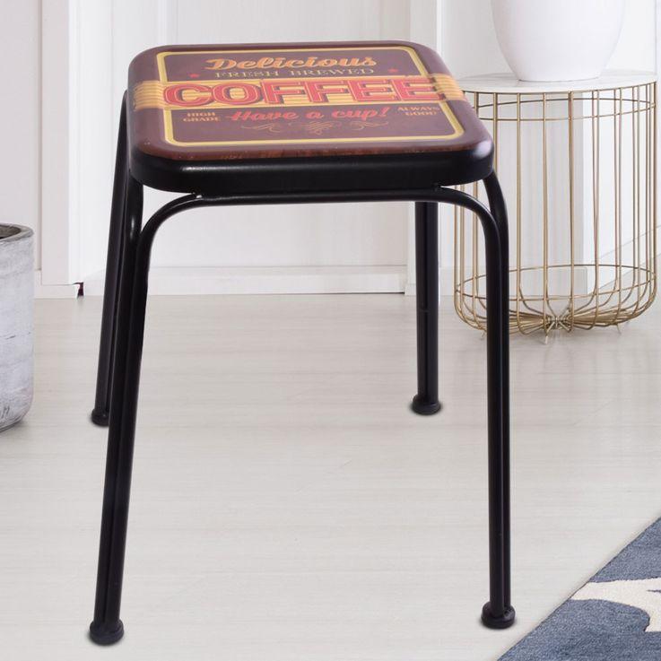 Design Side Stool Seat Furniture Chair Coffee Print Black Living Dining Room  Noor 77016 – Bild 2