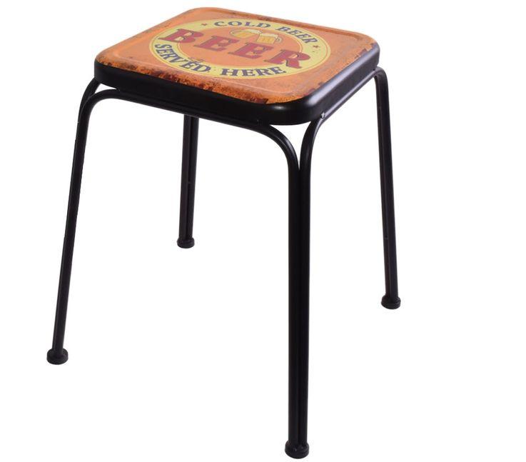 Retro Design Stool BEER Imprint Living Room Seat Beistell Furniture Storage Chair multicolored  Noor 77016 – Bild 1