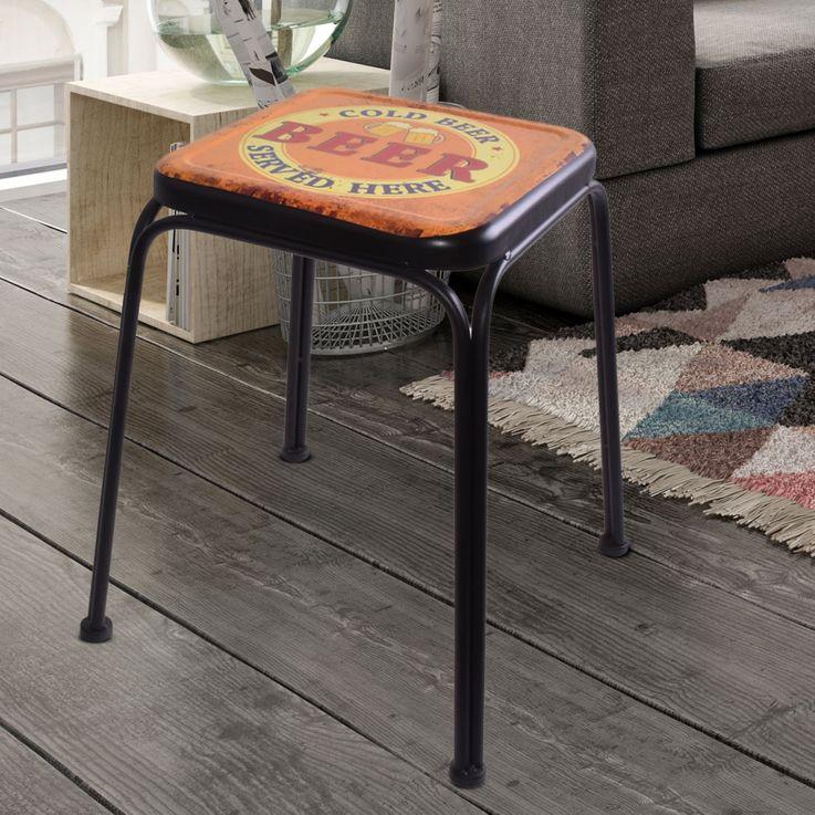 Retro Design Stool BEER Imprint Living Room Seat Beistell Furniture Storage Chair multicolored  Noor 77016 – Bild 2