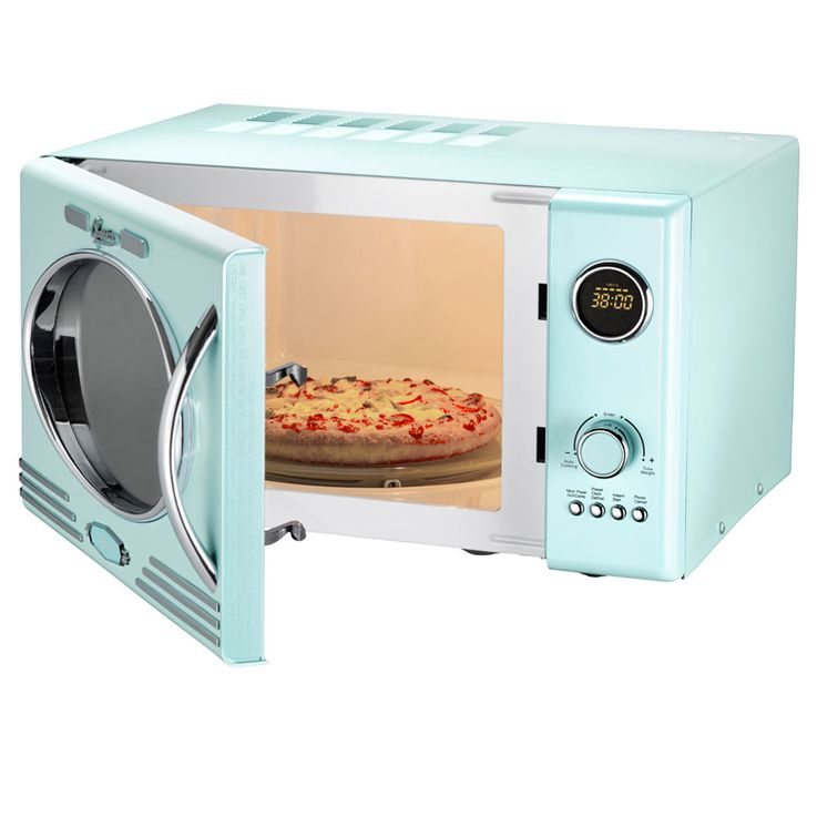 Retro Design Microwave 1000 Watt Glass Rotary Plate Clock Grill Peppermint Blue  Melissa 16330122 – Bild 3