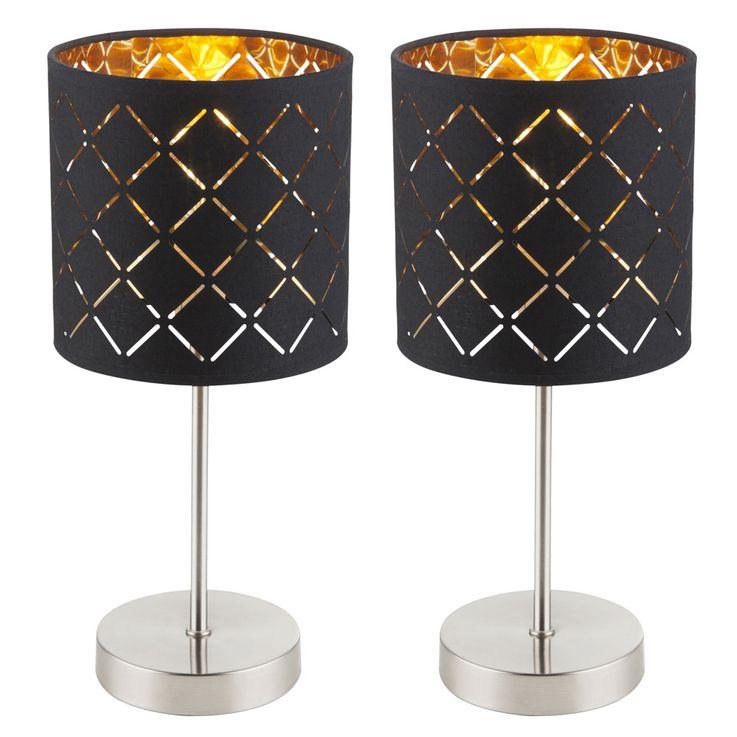 2er Set Tischleuchten, schwarz gold, Höhe 35 cm,CLARKE – Bild 1