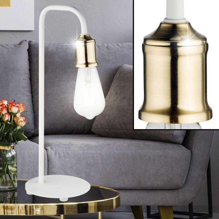 INDUSTRY style lampe de table salon chambre vintage veilleuse en laiton lampe blanche  Globo 15415T – Bild 3