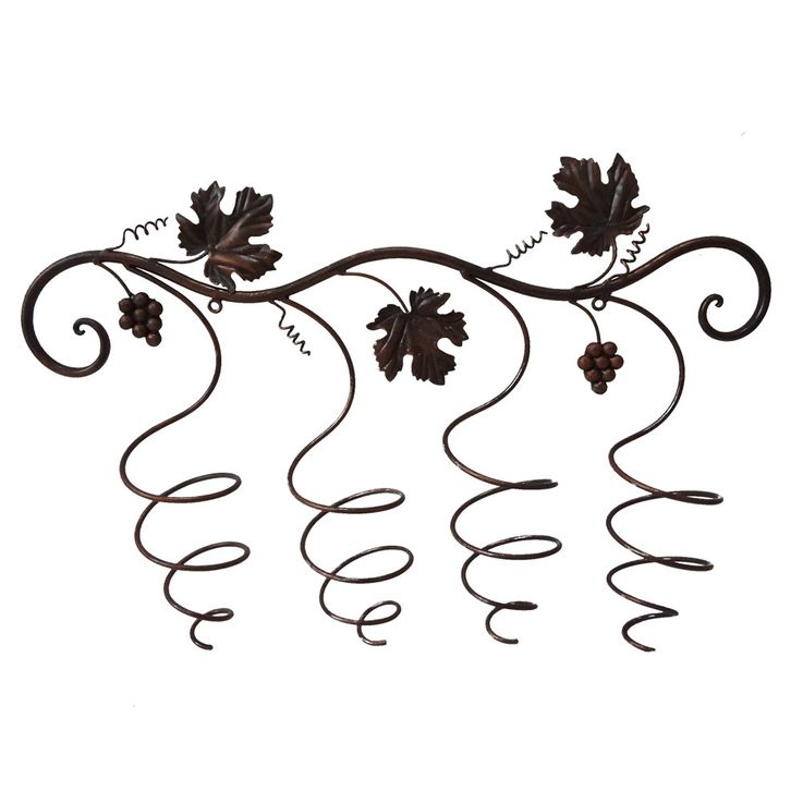 Wine bottle holder shelf storage wall bracket four bottles metal rust look  Harms H315158 – Bild 1