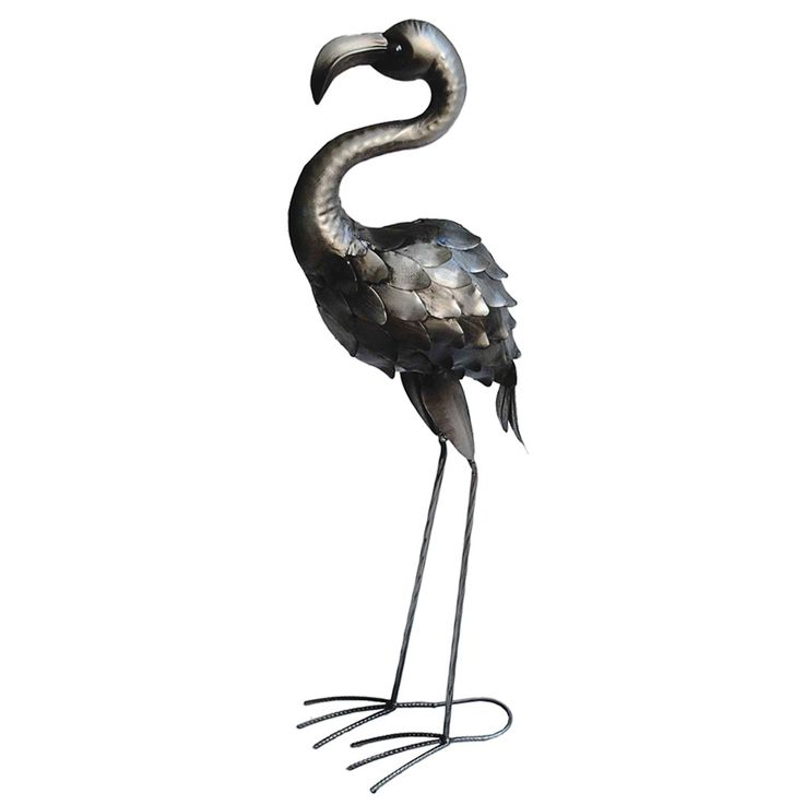 Garden Stand Figurine Flamingo Sculpture Garden Beet Decoration Bird Statue Silver Antique  Harms H504028 – Bild 1