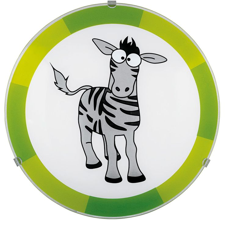 Ceiling Kids Lamp Lighting Game Room Animal Zebra Motif Green Gray EGLO 78188 – Bild 1