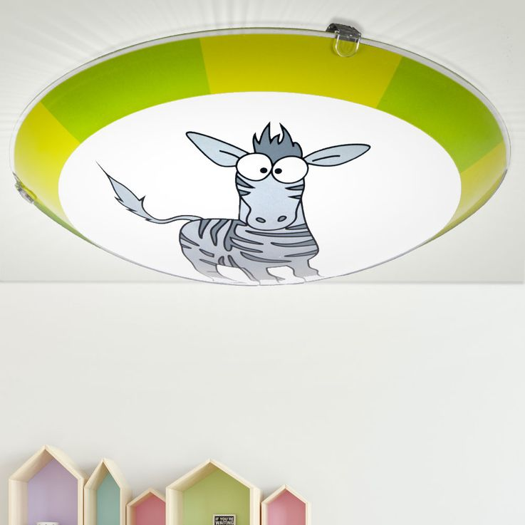 Ceiling Kids Lamp Lighting Game Room Animal Zebra Motif Green Gray EGLO 78188 – Bild 2