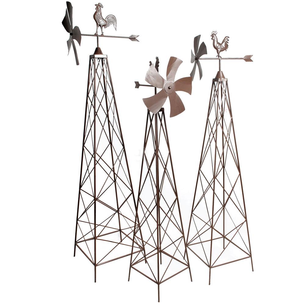 Gartendekoration - 3er Set Rankhilfen mit Windrädern in verschiedenen Größen  - Onlineshop ETC Shop