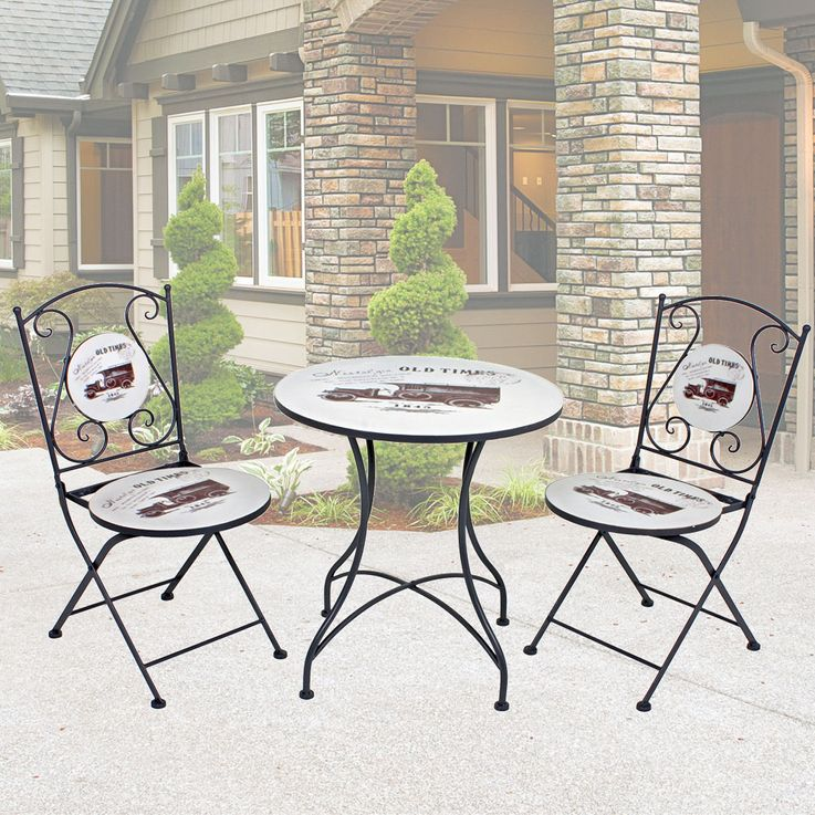 Bistro Table Set Retro Design Garden Seat Furniture Vintage Chairs Terrace  Harms 950465 – Bild 2