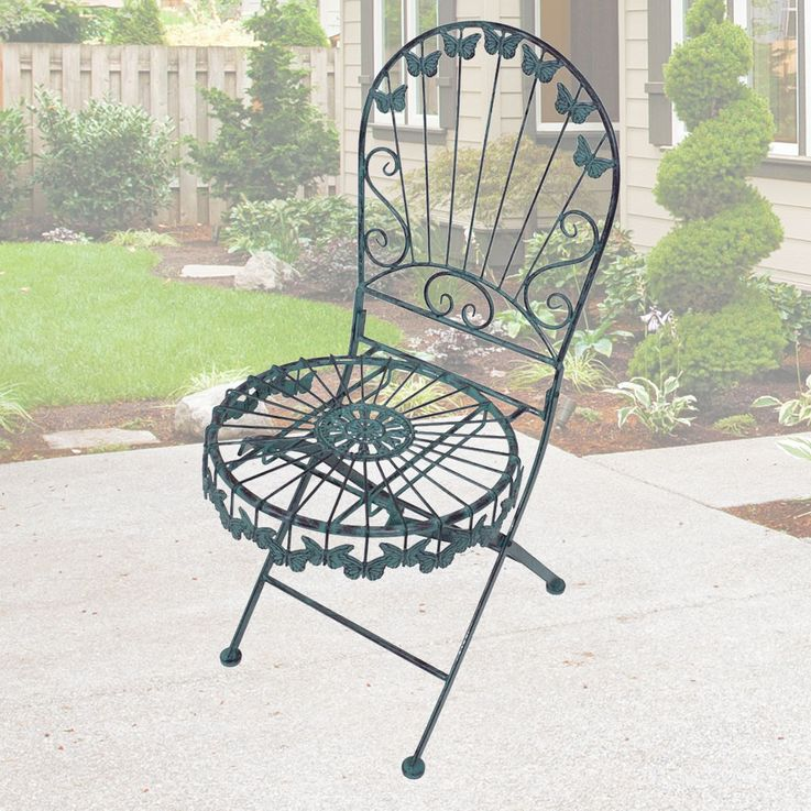 Decorative folding chair butterfly design garden living room seat furniture antique green  Harms 950401 – Bild 2