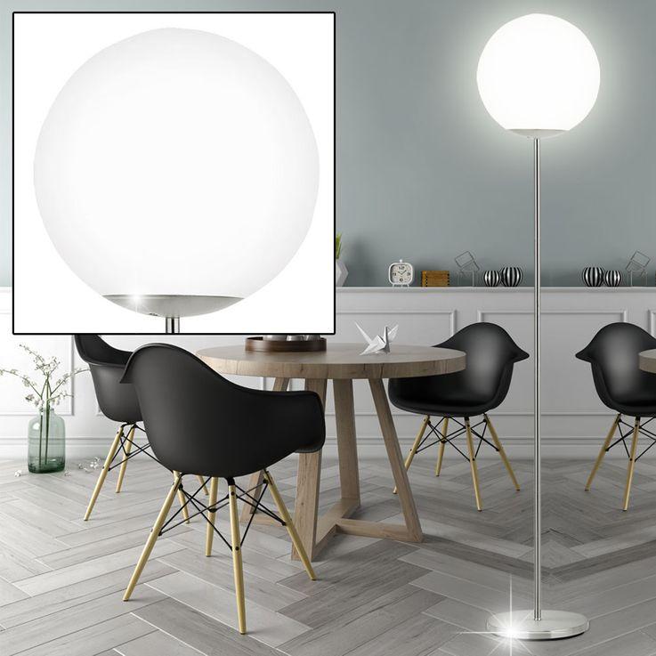 Steh Leuchte Stand Lampe Wohn Zimmer Beleuchtung Glas Kugel satiniert Chrom Matt Strahler Eglo 79041 – Bild 2
