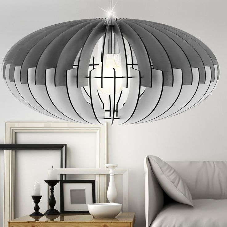 Design ceiling pendant lamp living room lighting wood slats hanging lamp gray white  Eglo 79136 – Bild 2