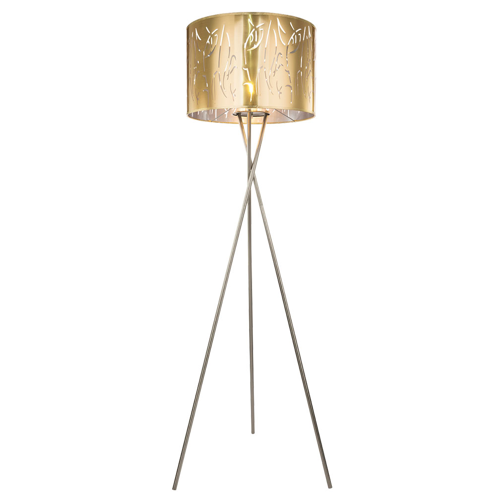 Led Floor Lamp Gold Decorative Punching Height 160 Cm Taxos