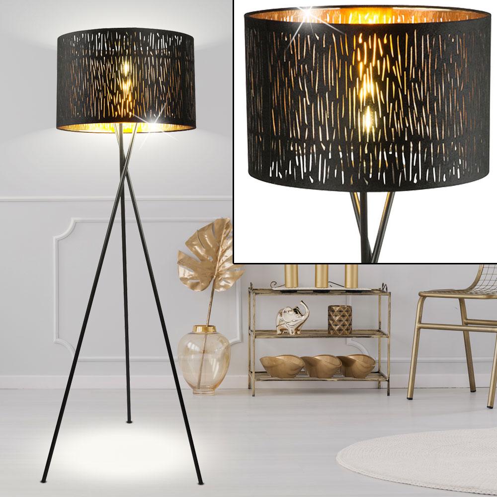 Led Stehlampe Mit Stoffschirm In Schwarz Gold Tuxon Etc Shop