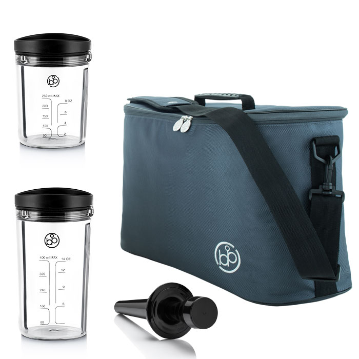 1L Stand Mixer Smoothies To-GO Trink-Becher inkl. Tasche Proteinshakes ice-mint  – Bild 4