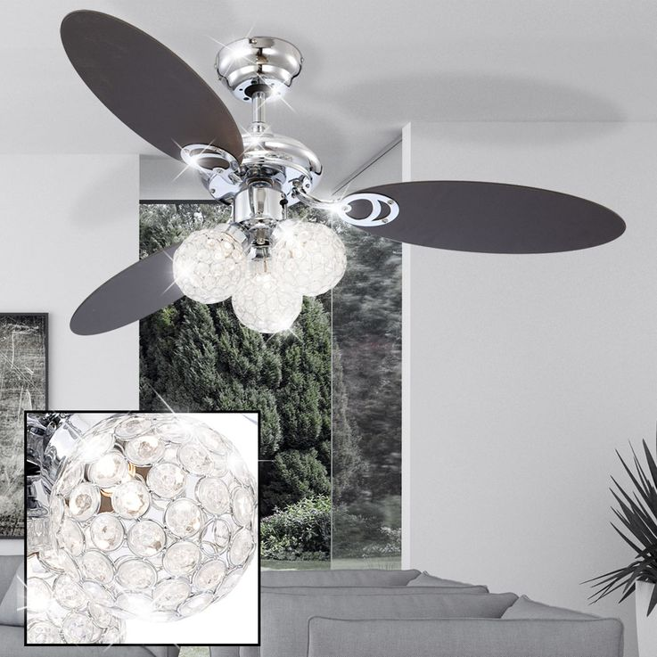 LED Decken Ventilator Beleuchtung Zug Schalter Lampe Leuchte Strahler Chrom Glas Globo 0334L – Bild 5
