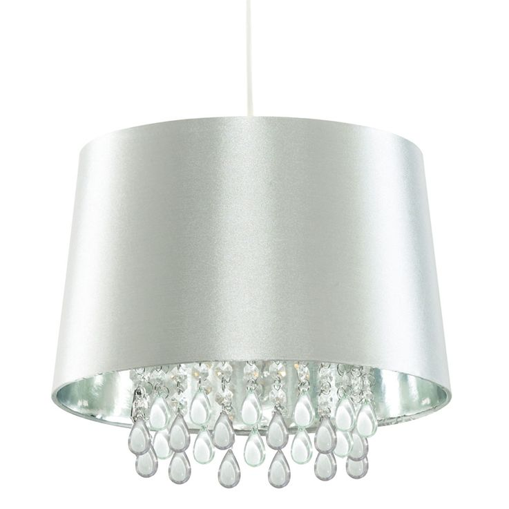 Crystal ceiling pendant light living room hanging lamp artificial silk silver  Searchlight CL7026SICW – Bild 1