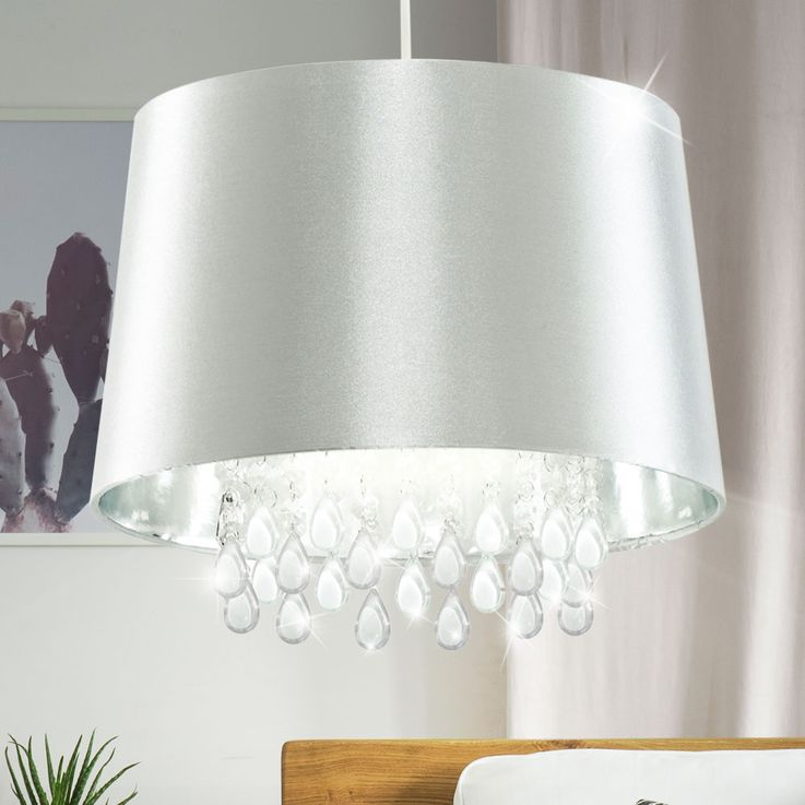 Crystal ceiling pendant light living room hanging lamp artificial silk silver  Searchlight CL7026SICW – Bild 2