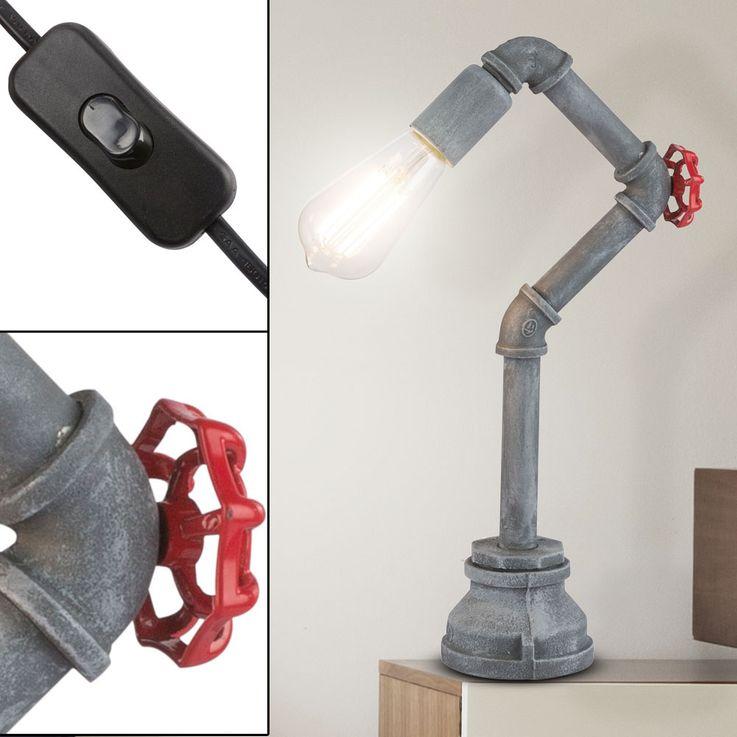 Vintage Table Luminaire Pipe Design Salon Eclairage Ciment Optic Retro Lampe De Lecture  Globo 43001T – Bild 3