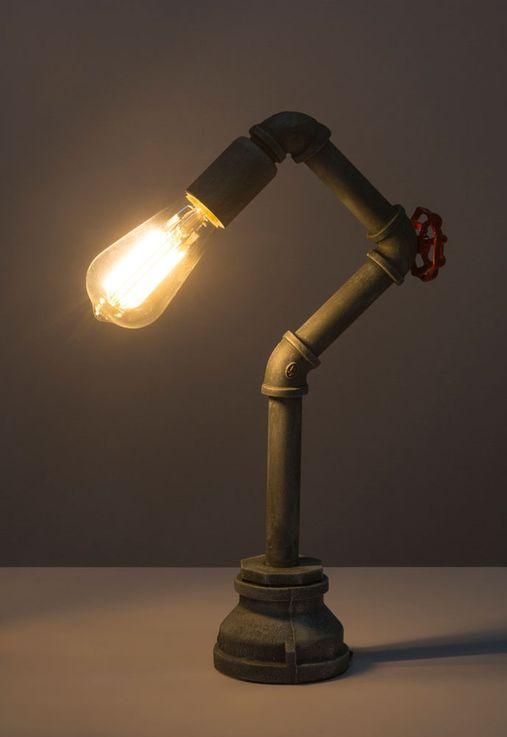 Vintage Table Luminaire Pipe Design Salon Eclairage Ciment Optic Retro Lampe De Lecture  Globo 43001T – Bild 6