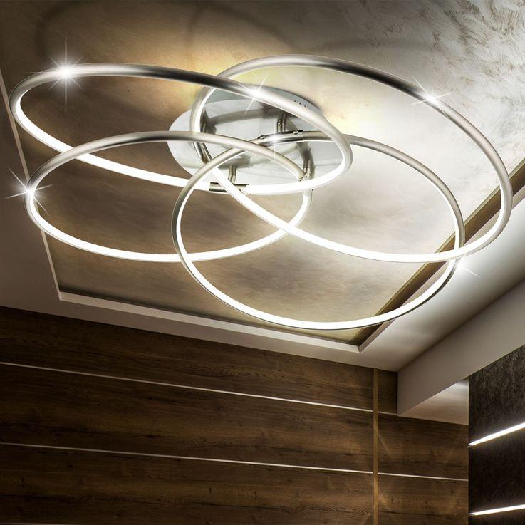 LED Decken Leuchte nickel-matt Ring Design Tageslicht CCT Fernbedienung ALU Lampe dimmbar Globo 67828-60N – Bild 8