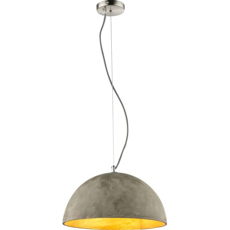 Hanging lamp inside gold concrete shade outside gray nickel matt round half ball Globo 15248 – Bild 1