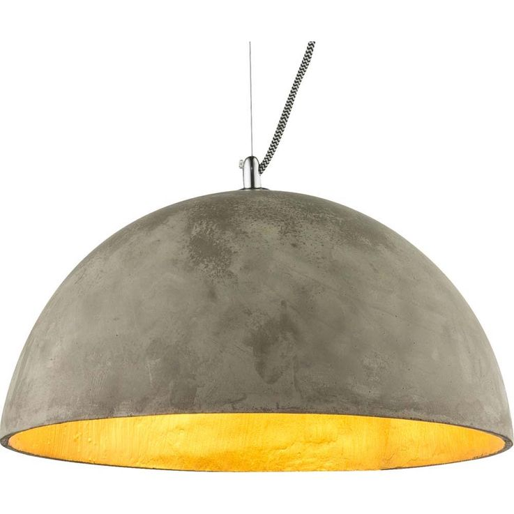 Hanging lamp inside gold concrete shade outside gray nickel matt round half ball Globo 15248 – Bild 4