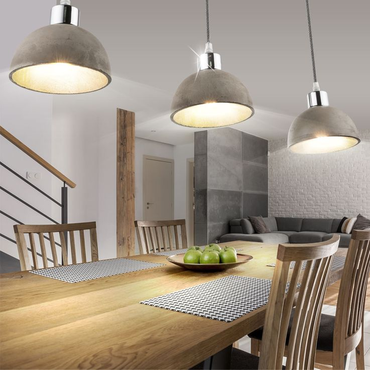 Luxury hanging lamp living dining room concrete spotlight wood pendulum ceiling lamp  Globo 15249-3 – Bild 2