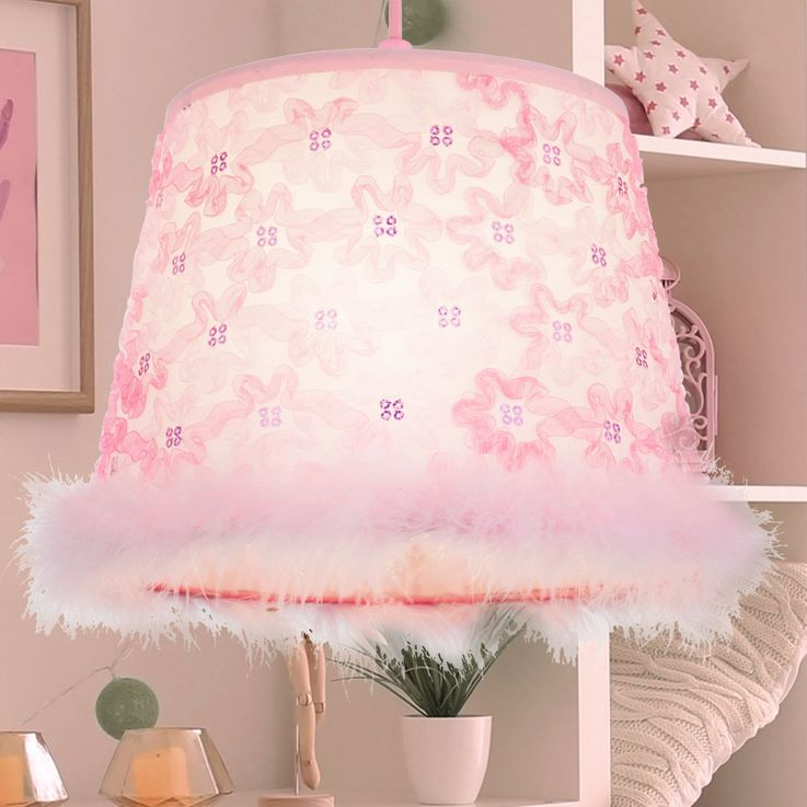 Hanging lamp for children with textile shade, pink, TARSO – Bild 2