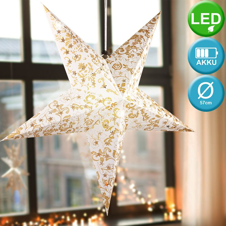 LED Christmas star ceiling hanging lamp white gold living room X-MAS pendant light  Globo 23200G – Bild 2