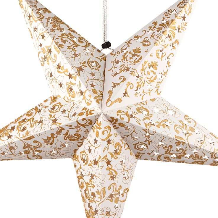 LED Christmas star ceiling hanging lamp white gold living room X-MAS pendant light  Globo 23200G – Bild 5