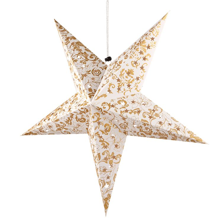 LED Christmas star ceiling hanging lamp white gold living room X-MAS pendant light  Globo 23200G – Bild 6
