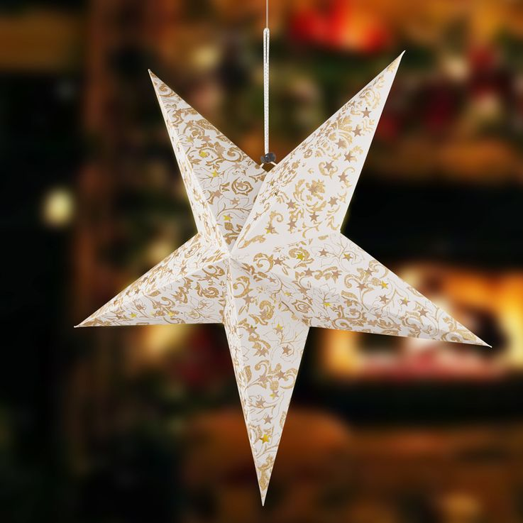 LED Christmas star ceiling hanging lamp white gold living room X-MAS pendant light  Globo 23200G – Bild 4